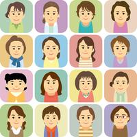 中高年女性の集合イラスト