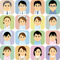 医療機関で働く男女の集合イラスト 60008000238| 写真素材・ストックフォト・画像・イラスト素材|アマナイメージズ