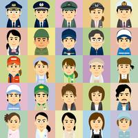 様々な職業で働く男女の集合イラスト 60008000245| 写真素材・ストックフォト・画像・イラスト素材|アマナイメージズ