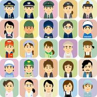 様々な職業で働く男女の集合イラスト 60008000246| 写真素材・ストックフォト・画像・イラスト素材|アマナイメージズ