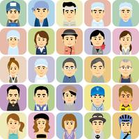 様々な職業で働く男女の集合イラスト