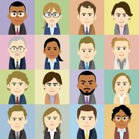 スーツ姿の白人と黒人の男女集合イラスト