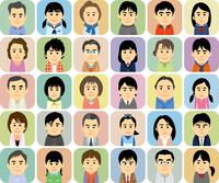 中高生の子供を持つ家族の集合イラスト