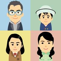 4人家族の集合イラスト
