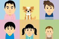 5人家族とペットの集合イラスト 60008000291| 写真素材・ストックフォト・画像・イラスト素材|アマナイメージズ