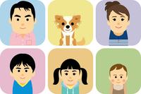 5人家族とペットの集合イラスト 60008000292| 写真素材・ストックフォト・画像・イラスト素材|アマナイメージズ