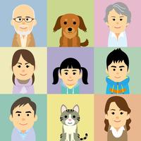 三世代家族とペットの集合イラスト 60008000297| 写真素材・ストックフォト・画像・イラスト素材|アマナイメージズ
