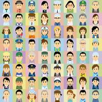 様々な職業で働く男女の集合イラスト 60008000315| 写真素材・ストックフォト・画像・イラスト素材|アマナイメージズ