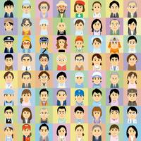 様々な職業で働く男女の集合イラスト 60008000317| 写真素材・ストックフォト・画像・イラスト素材|アマナイメージズ