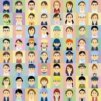 様々な職業で働く男女の集合イラスト 60008000319| 写真素材・ストックフォト・画像・イラスト素材|アマナイメージズ