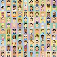 様々な人種の働く男女の集合イラスト 60008000321| 写真素材・ストックフォト・画像・イラスト素材|アマナイメージズ