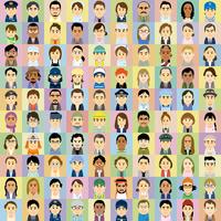 様々な人種の働く男女の集合イラスト 60008000325| 写真素材・ストックフォト・画像・イラスト素材|アマナイメージズ