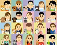 ペット業界で働く人とペットの集合イラスト 60008000329| 写真素材・ストックフォト・画像・イラスト素材|アマナイメージズ