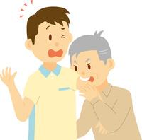 介護士に噛みつくシニア男性