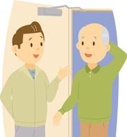 シニア男性の家を巡回する中高年男性