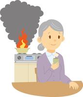 火の消し忘れに気付かないシニア女性