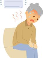 室内で熱中症になるシニア男性 60008000362| 写真素材・ストックフォト・画像・イラスト素材|アマナイメージズ
