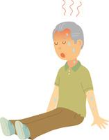 脱水症状で座り込むシニア男性 60008000363| 写真素材・ストックフォト・画像・イラスト素材|アマナイメージズ