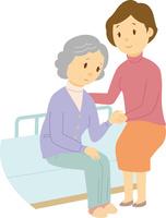 娘が母を介護する老老介護 60008000367| 写真素材・ストックフォト・画像・イラスト素材|アマナイメージズ