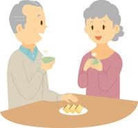 お茶を飲むシニアカップル 60008000373| 写真素材・ストックフォト・画像・イラスト素材|アマナイメージズ