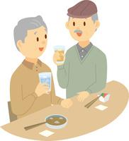 居酒屋で飲むシニア男性二人 60008000396| 写真素材・ストックフォト・画像・イラスト素材|アマナイメージズ