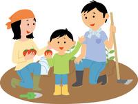 市民農園で野菜を作る家族 60008000486| 写真素材・ストックフォト・画像・イラスト素材|アマナイメージズ