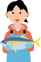 水産業に従事する若い女性 60008000515| 写真素材・ストックフォト・画像・イラスト素材|アマナイメージズ