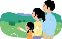 高原で景色を眺める若い家族 60008000518| 写真素材・ストックフォト・画像・イラスト素材|アマナイメージズ