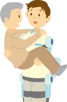パワードスーツを着けて要介護者を運ぶ 60008000556| 写真素材・ストックフォト・画像・イラスト素材|アマナイメージズ