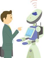 展示会で案内をするロボット 60008000623| 写真素材・ストックフォト・画像・イラスト素材|アマナイメージズ