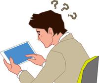タブレットの操作に悩む若いビジネスマン 60008000648| 写真素材・ストックフォト・画像・イラスト素材|アマナイメージズ