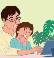 2in1 PCを見ながら話す父と息子