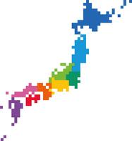 地方で区切ったドット絵の日本地図