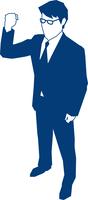 右手でガッツポーズをするビジネスマン 60009000140| 写真素材・ストックフォト・画像・イラスト素材|アマナイメージズ