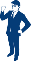 右手でガッツポーズをするビジネスマン 60009000141| 写真素材・ストックフォト・画像・イラスト素材|アマナイメージズ