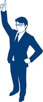 右手の人差し指を天にむけるビジネスマン 60009000143| 写真素材・ストックフォト・画像・イラスト素材|アマナイメージズ