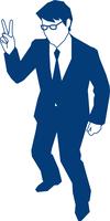 ピースサインをするビジネスマン 60009000149| 写真素材・ストックフォト・画像・イラスト素材|アマナイメージズ