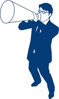 メガホンで叫ぶビジネスマン 60009000156| 写真素材・ストックフォト・画像・イラスト素材|アマナイメージズ