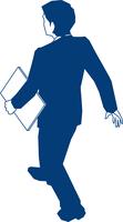 書類を持って歩くビジネスマンの後ろ姿 60009000161| 写真素材・ストックフォト・画像・イラスト素材|アマナイメージズ