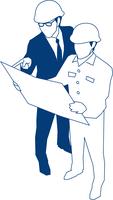 現場監督と図面を確認するビジネスマン 60009000172| 写真素材・ストックフォト・画像・イラスト素材|アマナイメージズ