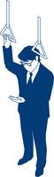 通勤中にスマホを操作するビジネスマン 60009000174| 写真素材・ストックフォト・画像・イラスト素材|アマナイメージズ