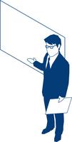 ボートを使いプレゼンするビジネスマン 60009000183| 写真素材・ストックフォト・画像・イラスト素材|アマナイメージズ