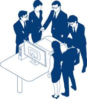 モニタを見て議論をするビジネスマン六人