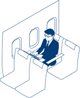出張中の飛行機内で仕事をするビジネスマン