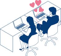 社内恋愛をするOLとビジネスマン