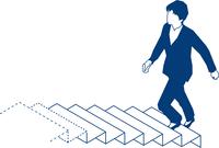 階段を上る女性ビジネスマン