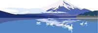 山梨の山中湖と富士山