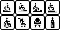 車椅子でのスロープと段差とベビーカーと赤ちゃんとミルクのピクトグラム 60009001098| 写真素材・ストックフォト・画像・イラスト素材|アマナイメージズ