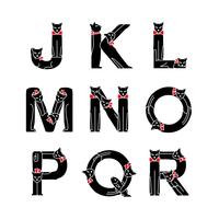 ネコ文字 J〜R(黒ネコ)