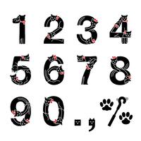 ネコ文字 数字(黒ネコ)